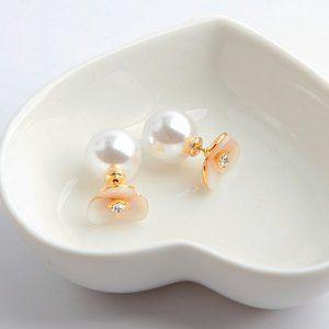 Kate Spade Shell Pearl Flower Stud Earrings